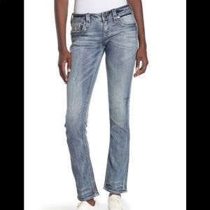 Rock Revival Topstitched Straight Leg Jeans SZ 24